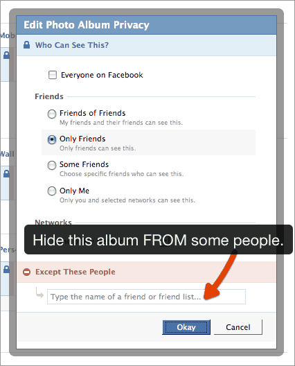 Facebook privacy - exclude some people from seeing photos.