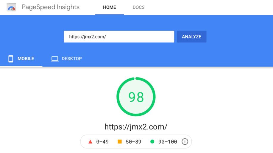 PageSpeed 98 on jmx2.com