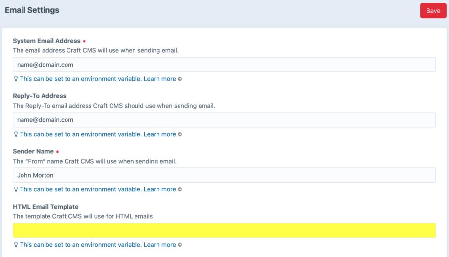 Craft HTML email template option screenshot
