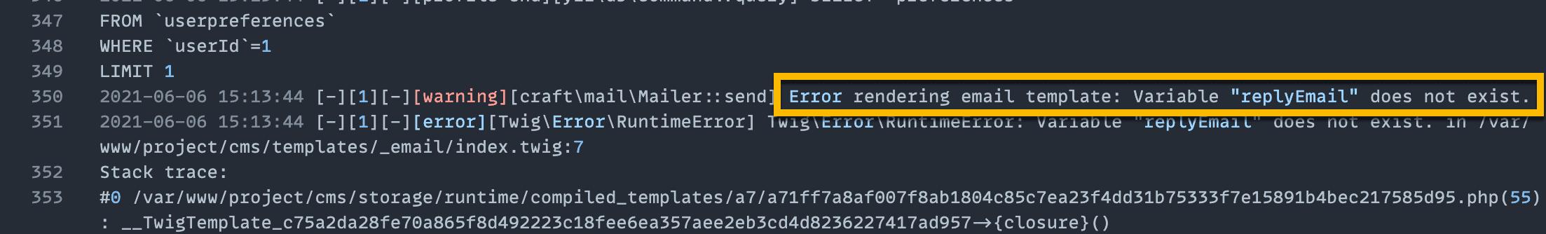 Email Rendering Error in Craft logs