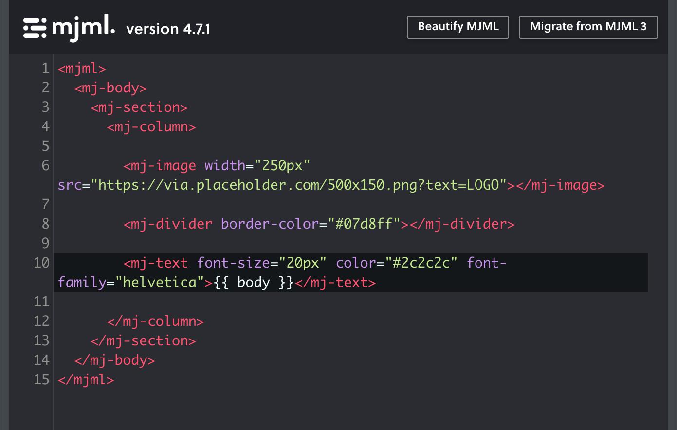 MJML code example