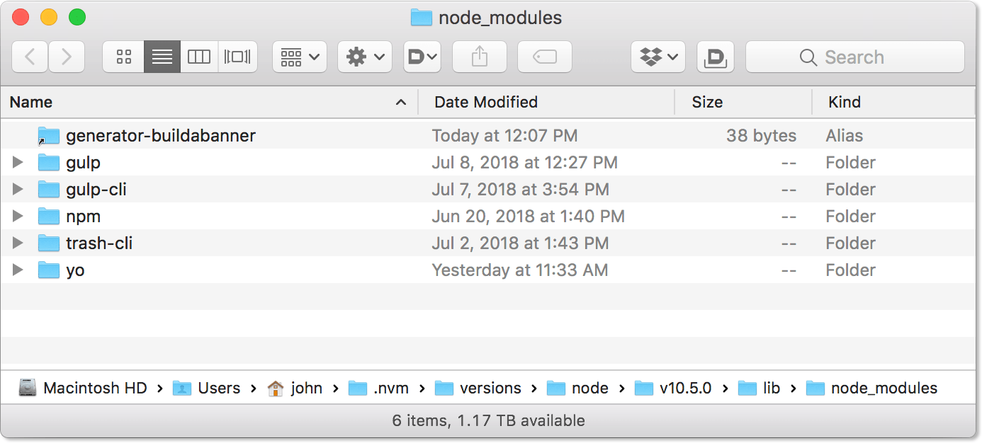 Node Modules Location With Local